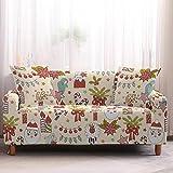 Mrzyzy Funda Sofa Elasticas 1 2 3 4 Plazas Fundas de Sofa Ajustables Fundas Decorativa para Sofá Tema Navideño Estampadas Impresa Cubre Sofa (Color : A, Size : 2 Seater(145-185cm))