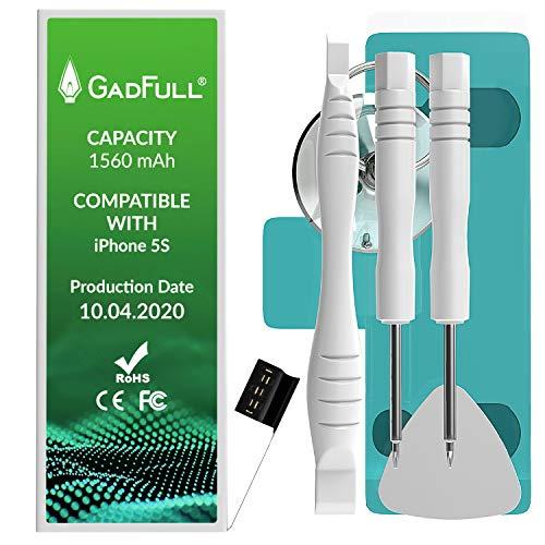GadFull Akku für iPhone 5S | 2020 Baujahr | Reparaturset mit Anleitung & Ersatz Klebestreifen Set | ohne Ladezyklen | Qualitäts Erzatzakku | Funktioniert mit alle original APN | Accu Batterie Battery