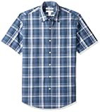 Amazon Essentials – Camisa de popelín de manga corta de corte entallado para hombre, Navy Medium Plaid, US S (EU S)