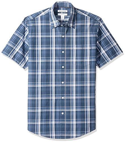Amazon Essentials Slim-Fit Short-Sleeve Casual Poplin Shirt Button-Down-Shirts, Navy Medium Plaid, S