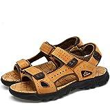 Senderismo Veranos Sandalias Hombres cangrejeras Zapatos Zuecos Chanclas Trekking Pescador Playa Cuero Zapatillas Deporte (Amarillo,44 EU,28CM De talón a Dedo del pie