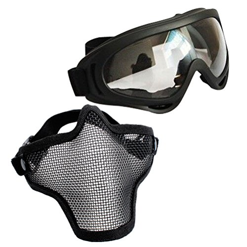 VORCOOL 2pcs Airsoft Maske Einstellbare Halbe Gesichtsmaske Stahl Mesh Maske und Brille Set für Jagd Schießen Paintball