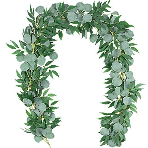 TOPHOUSE 2 Packs 6.5 Feet Artificial Silver Dollar Eucalyptus Leaves Garland with Willow Vines Twigs Leaves String for Doorways Greenery Garland Table Runner Garland Indoor Outdoor.