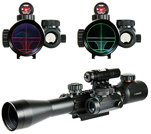 Higoo Tactical 3-9X40 Illuminated Hunting Red/Green Laser Riflescope Rifle Scope with Holographic Dot Sight Combo Airsoft Gun Weapon Sight