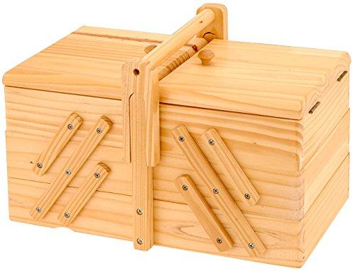 Nähkästchen holz Nähkorb - klassisch vintage mit 5 Fächern und Tragegriff, aufklappbar Nähkiste Nähbox aufbewahrung