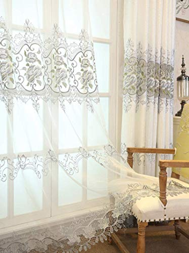 ZZCZZC 1 Pair (2 Panels) Gray Flower Embroidered Home Curtain Sheers Living Room Elegant Tulle Drape Panels Clear European Luxury Voile Curtains Rod Pocket Top Lace Gauze Curtain W39 inch by L84 inch