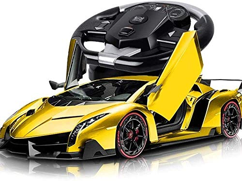 Mando a distancia del coche de deportes for el muchacho, 01:10 grande de alta velocidad de deriva amarillo hilos del coche de control remoto de coches de juguete detección de la gravedad de la simulac