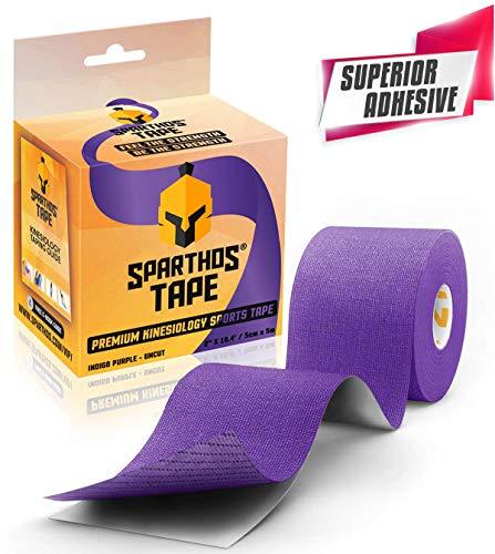 Spartan Tape Kinesiologie-Tape, 6 x Mix Physio-Tape in vielen Farben - Breite: 5,0 cm, Sport-Tape, elastische Bandage für Physiotherapie, Sport, Freizeit und Medizin (Indigo Purple)