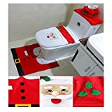 Garma 3 PCS Christmas Decorations Santa, Snowman,Reindeer Toilet Lid Covers and Rug Set Toilet Seat Covers (Red&White-Santa)