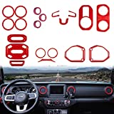 Yoursme 20 PCS Full Set Interior Decoration Trim Kit for Jeep Wrangler JL JLU & Gladiator JT, 2018-2021 2 Door and 4 Door, Nice and Fashionable, ABS Red