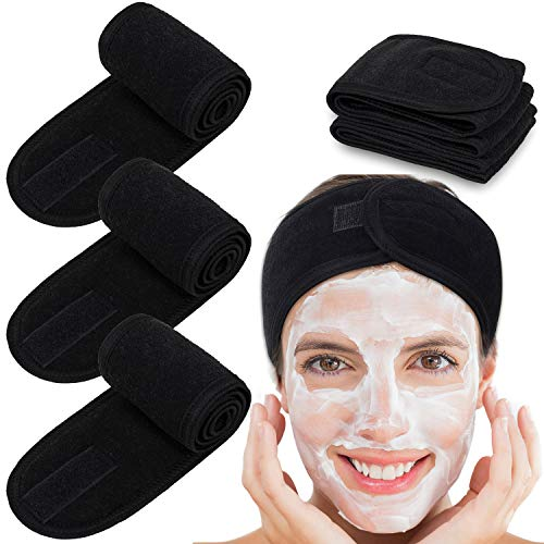 Whaline - Toalla de rizo tipo diadema, para tratamientos faciales o maquillaje negro negro