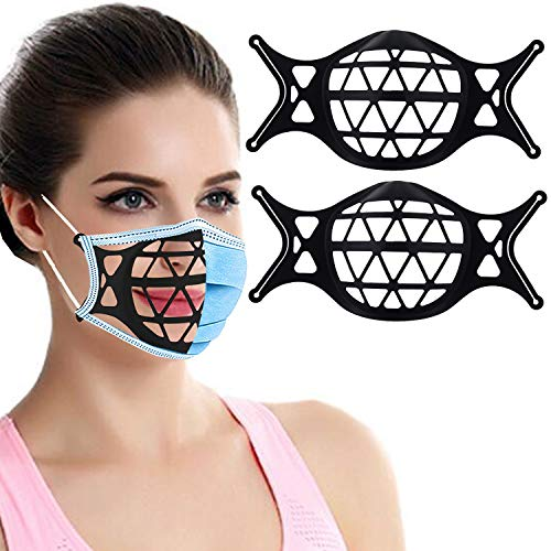 3D Silicone Face Mask Bracket-3D Mask Bracket Inner Support Frame for More Breathing Space,Keep Fabric Off Mouth,Cool Lipstick Protection Stand,Reusable&Washable (2 Pcs Black)