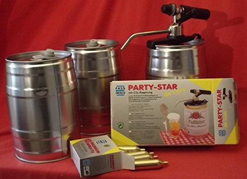 3 botti da 5 litri per feste, con spillatore Party Star de Luxe e 10 cartucce di CO2, per la vostra birra fai da te.