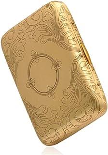 LONGWDS Caja de cigarro Caso de Cigarrillos, Caja de Cigarrillo de Cobre Fino, Fino clásico Caso de Cigarrillos Caja de Re...