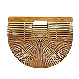 CestnYuun - Bolso de mano de playa de bambú, bandolera de bambú para mujer, bolsa de paja de...