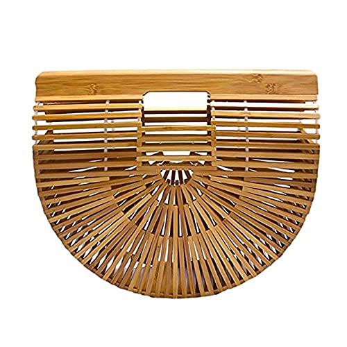 CestnYuun - Bolso de mano de playa de bambú, bandolera de bambú para mujer, bolsa de paja de mimbre, regalo de embrague para mujer, Beige (natural), Small