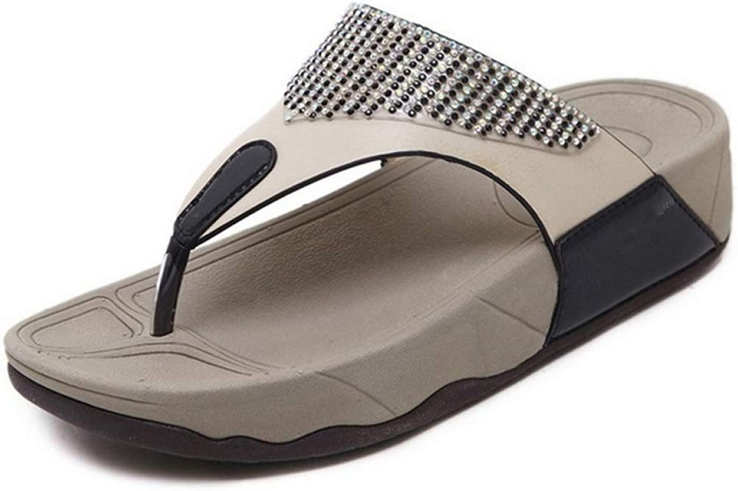 MEIZOKEN Women's Flat Wedge Sandals Diamond Trim Slippers Beach Non-Slip Comfortable Flip Flops
