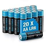 POWERADD Batterie Alcaline AA Confezione da 20 Pile Stilo AA da 1.5V, Telecomando per Mouse Giocattolo per Bambini e Altre Batterie Generiche