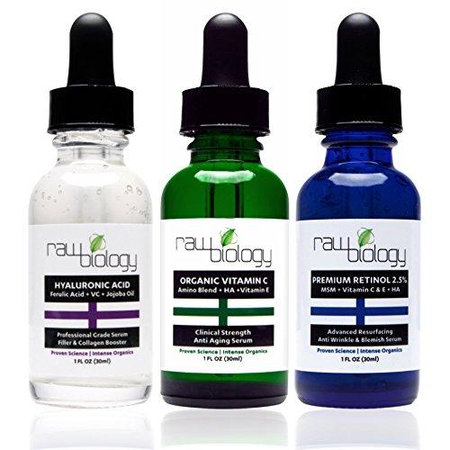 Raw Biology Organic Liquid Facelift with Vitamin C Serum, Retinol and Hyaluronic Acid for Skin