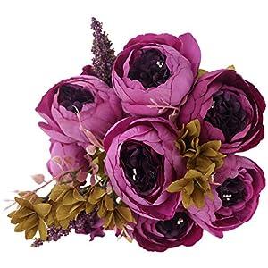 Silk Flower Arrangements BOMAROLAN Vintage Artificial Peony Bouquet Silk Wedding Flowers, Pack of 2 Fake Flowers Home Party Festival Decoration (Purple1)
