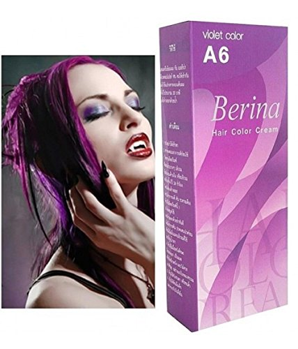 Berina Cream Hair Dye Permanent Color Purple Punk Emo Go A6.