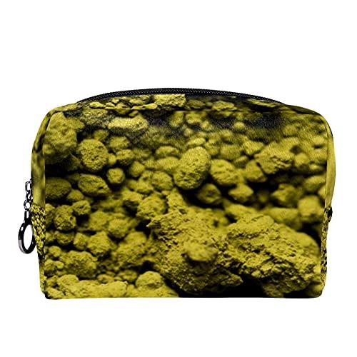 Grüner Tee Matcha-Pulver, 18,5 x 7,5 x 13 cm (L x B x H), tragbarer Reise-Make-up-Koffer für Frauen, Kosmetiktasche, Reisezubehör, Organizer