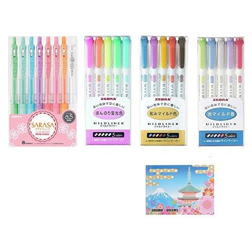 Zebra Pen Set especial/MildLiner 3Pack: wkt7–5C (5colores)/wkt7–5C-RC (5colores)/wkt7–5C-nc (5colores), Sarasa Clip 0.5mm Bolígrafo: JJ15–8C-mk (8colores), Original notas adhesivas