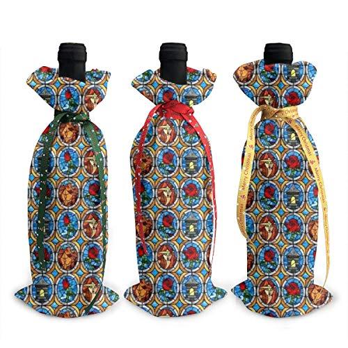 3 fundas para botella de vino, diseño de bellas y bestias, de cuento de hadas, para decoración de mesa, para Navidad, fiestas, cenas, regalo
