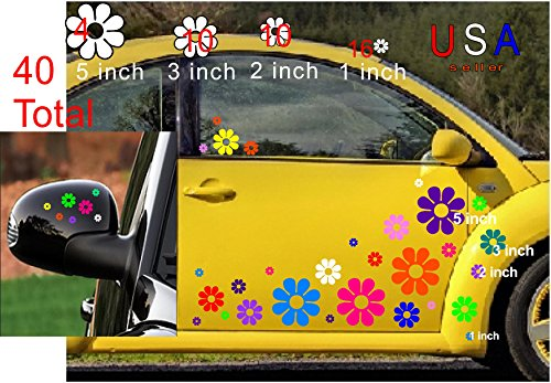 DeanSigns4u 40 Car Flowers Daisy Bright Rainbow Set Sticker Decals from USA VW Boat Golf Cart Kayak
