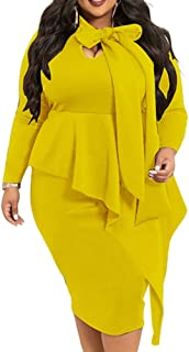 Plus Size Dress for Women - Sexy Loose Stretchy Plus Size Peplum Dresses with Bowknot