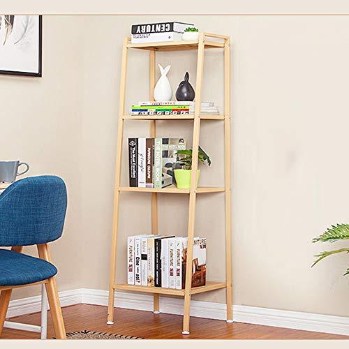 YINUO Étagère simple Simple Moderne Salon Metal Rack Au sol multi-couche balcon en fer forgé fleur stand Taille: 40x35x147cm (Color : Wood color)