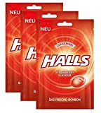 Halls Bonbons Strawberry zuckerfrei 65 g / Frischebonbon Erdbeere,3er Pack (3x65g) -