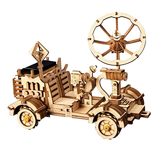 XIJIANG 4 tipos móviles 3d de madera de caza espacial solar juguete de la energía solar de la asamblea de juguete para niños adolescentes adultos 401MoonBuggy