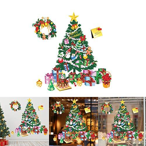 XdiseD9Xsmao 2 stuks kerstboom afneembaar zelfklevend sticker voor de muur deur raam kast winkel decoratie Home Living Room DIY decoratie Veelzijdig te gebruiken.