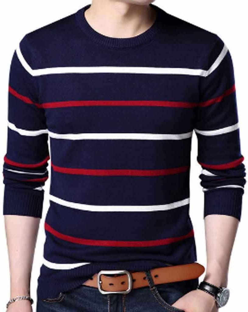 ZYING Pullover Men Autumn Winter Wool Slim Fit Sweater Men Casual Striped Pull Jumper Men (Color : XXL Code)