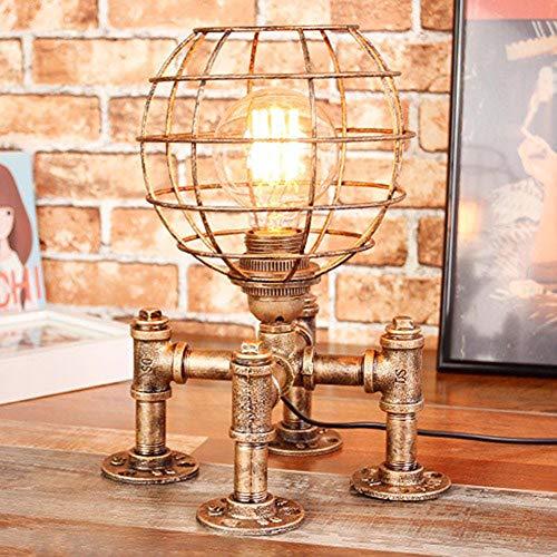 Tafellamp retro bar café decoratie E27 industriële verlichting Globo model waterpijp tafellamp smeedijzer Hollow lampenkap met schakelaar
