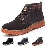 Zapatos de Seguridad Hombre Mujer Zapatillas de Trabajo con Punta de Acero Ligeros Calzado de Industrial y Deportivos Sneaker, A201 Marrón 42