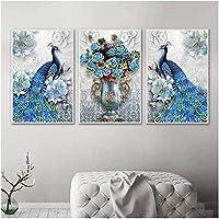 北欧スタイル3ピース50x70cmフレームなしブルーピーコック花瓶ヴィンテージポスター壁の写真リビングルームの家の装飾