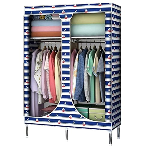 LYLY Wardrobe Simple Wardrobe for Hanging Clothes Storage Cupboard Shelves Hanging Rail Portable Wardrobe Temporary Wardrobe Clothes Closet (Color : D)