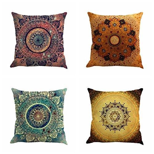 "Jartinle Set of 4 Retro Floral Mandala Compass Medallion Bohemian Boho Style Summer Decor Cushion Case Decorative for Sofa Couch 18"" x 18"" Inch Cotton Line (Floral Compass Medallion)"
