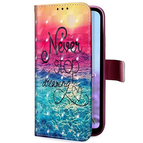 Uposao Kompatibel mit Samsung Galaxy A50 Handyhülle Glitzer Bling 3D Bunt Leder Hülle Flip Schutzhülle Handytasche Brieftasche Wallet Bookstyle Case Magnet Ständer Kartenfach,Ozean