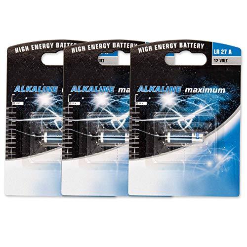 Akku-King 3 x Batterie Alkali A27, LR27, 27A, LR27A, L828, MN27, VA27A, V27A, CN27A - 12V für Garagentoröffner, Alarmanlage, Miniradio, Funkauslöser