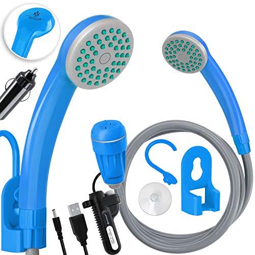 Kesser® Campingdusche mit Akku Tauchpumpe Handbrause 2200mAh-Lithium-Akku, USB-Ladekabel, für Camping Garten - Auto - Outdoor, Hundedusche, Autoreinigung, 12V Pumpe, Blau