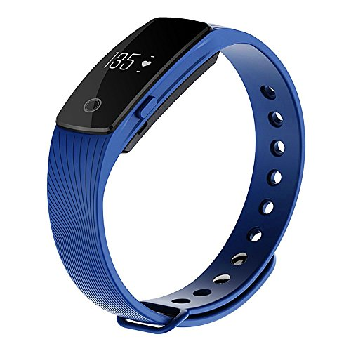 Zomtop ID107 Bluetooth 4.0 Smart Bracelet Smart Band Heart Rate Monitor Wristband Fitness Tracker for Android iOS Smartphone(Blue)