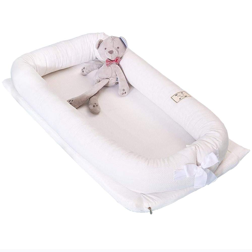 Baby Lounger Nest Bassinet for Bed, Portable Baby Co-Sleeping Cribs & Cradles for Bedroom and Travel, 100% Soft Cotton Baby Bed (White Breathable Net)