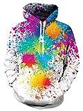 Men and Women Novelty Fleece Hoodies Rainbow Paint Tie Dye Printed Pullover Athletic Sweaters Long Sleeve Oversized Fleece Hooded Sweatshirts