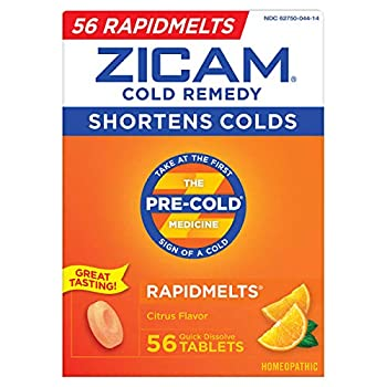 Zicam Cold Remedy RapidMelts Citrus Flavor Quick Dissolve Tablets 56 Count Homeopathic Pre-Cold Medicine for Shortening Colds  56 Count