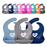 Premium Silicone Bib for Babies or Toddlers by Hello Jolie | Set of 3 Colors | Easy to Wipe Clean | Roll Up for Travel | Soft and Comfortable | Food Catching Pocket