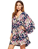 Milumia Womens Flared Floral Print Front Cross Deep V-Neck Sleeve Loose Short Mini Dress Purple L