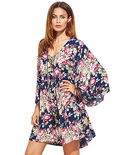 Milumia Women Boho Floral Print Flared Vacation Flowy V Neck Mini Dress Purple Large